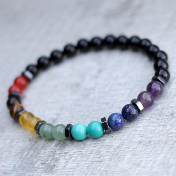 Black Onyx 7 Chakra Balance Bracelet 6mm