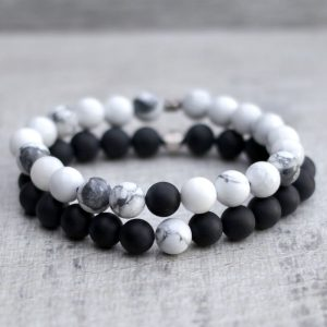 Couples, Friendship, Distance Bracelet Set Howlite & Onyx