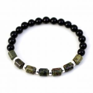 Dragon's Blood Jasper, Onyx & Sterling Silver Bracelet