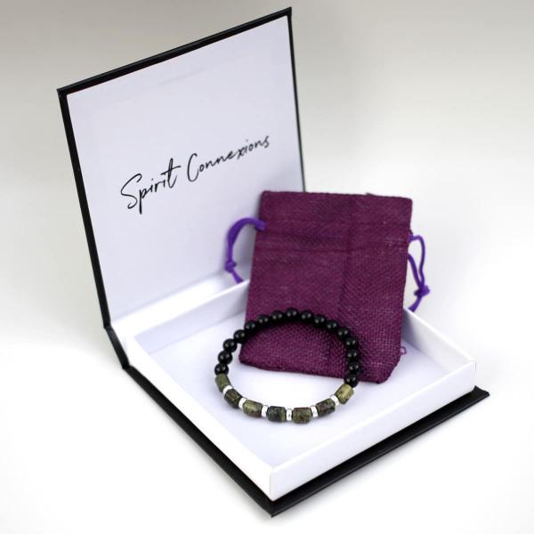 Dragon's Blood Jasper, Onyx & Sterling Silver Bracelet
