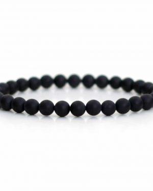 Frosted Black Onyx Bracelet 6mm