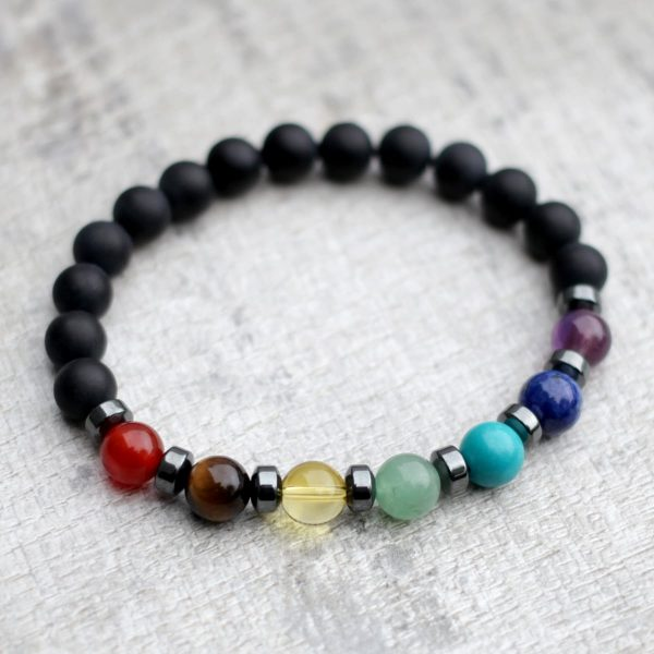Matte Black Onyx Chakra Bracelet