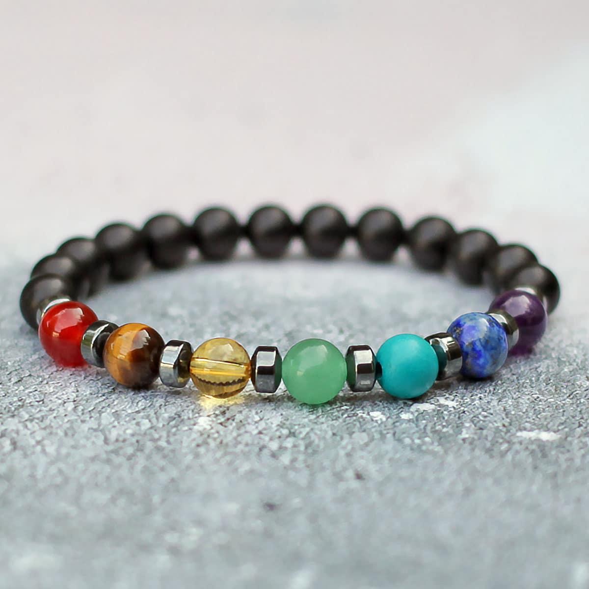 Black Onyx 7 Chakra Balance Bracelet 8mm