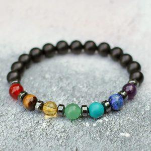 Frosted Black Onyx 7 Chakra Balance Bracelet