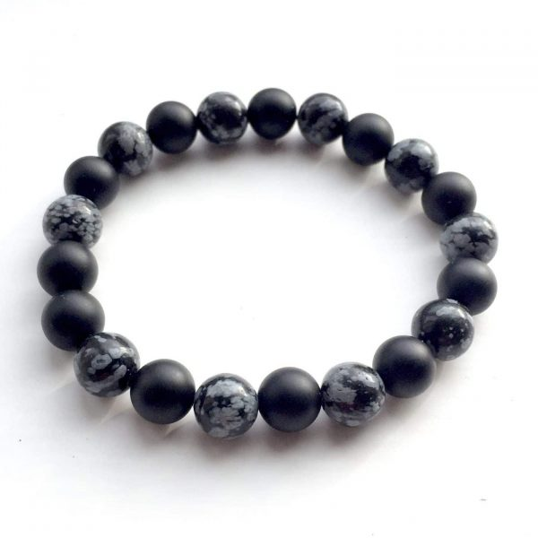 Frosted Black Onyx & Snowflake Obsidian Bracelet 8mm