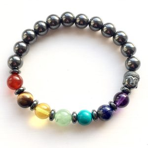 Hematite Chakra Buddha Bracelet