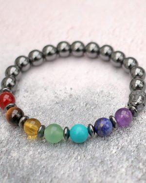 Hematite 7 Chakra Bracelet With Buddha