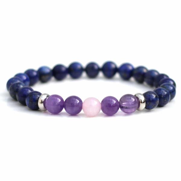 Lapis Lazuli, Amethyst & Single Rose Quartz Bracelet