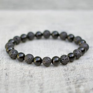 Obsidian & Lava Mixed Stone Bracelet 8mm