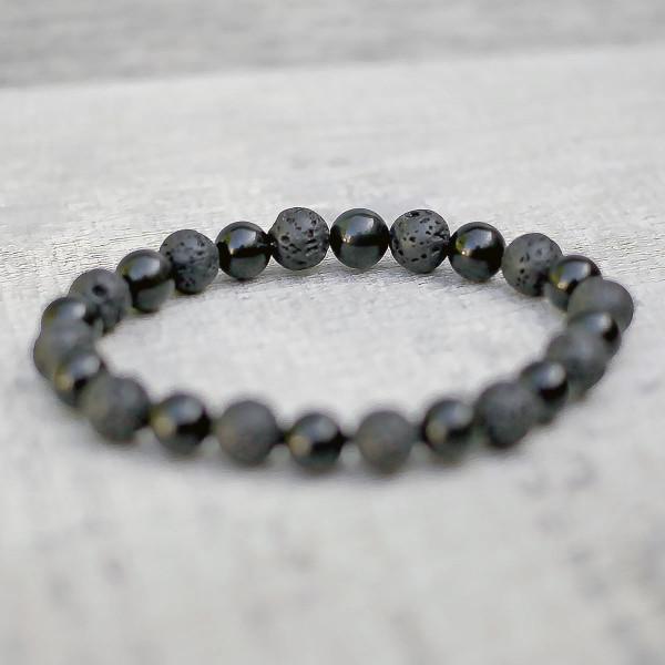 Obsidian & Lava Mixed Stone Bracelet 8mm