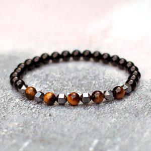 Onyx, Tigers Eye & Hematite Bracelet