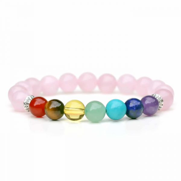 Rose Quartz 7 Chakra Balance Bracelet 8mm