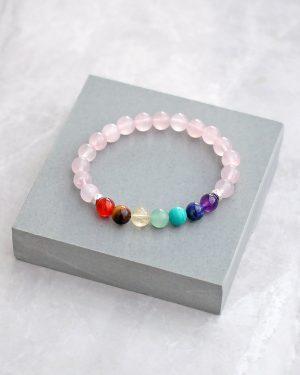 Rose Quartz 7 Chakra Bracelet