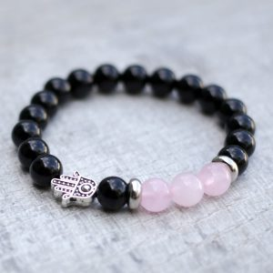 Rose Quartz Black Onyx Hamsa Bracelet