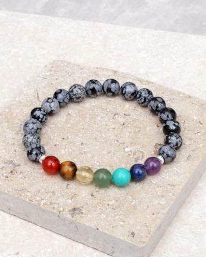 Snowflake Obsidian Chakra Bracelet