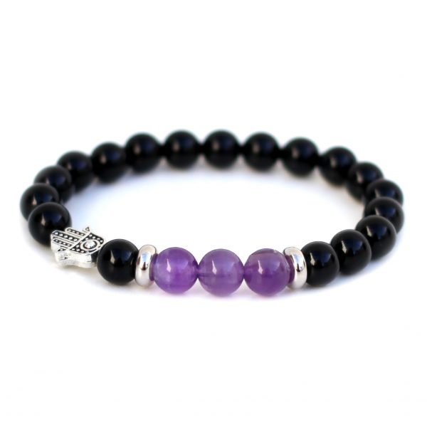 Stress Anxiety Relief Amethyst Hamsa Bracelet