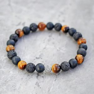 Tigers Eye, Lava & Onyx Mixed Stone Bracelet 8mm