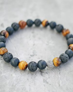 Tigers Eye Lava Frosted Onyx Diffuser Bracelet