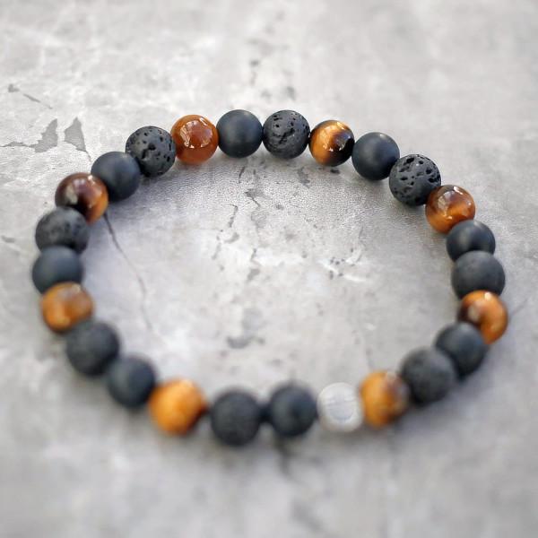 Tigers Eye, Lava & Onyx Mixed Stone Bracelet 8mm