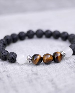 Tigers Eye, Jade & Lava Mixed Stone Bracelet 8mm