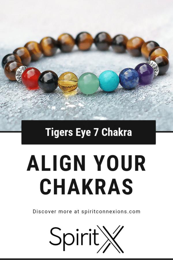 Tigers Eye 7 Chakra Balance Bracelet 8mm