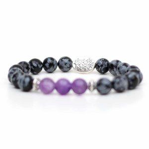 Snowflake Obsidian Amethyst Bracelet