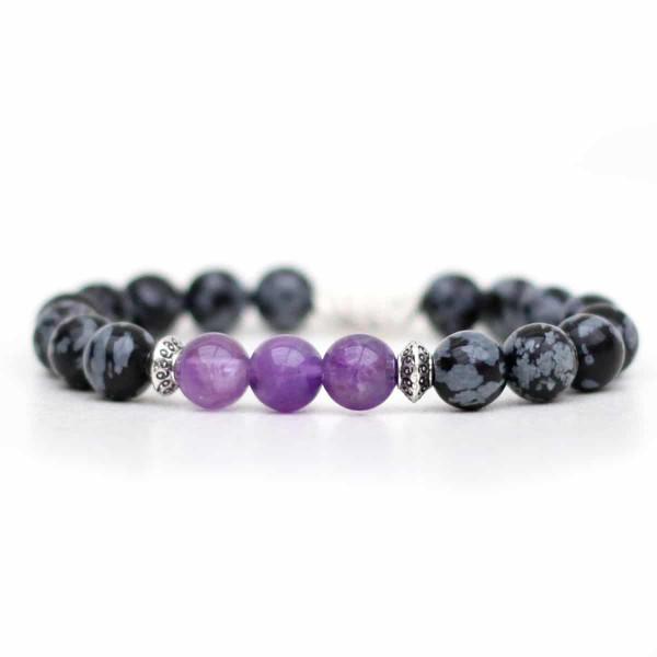 Amethyst Snowflake Obsidian Bracelet