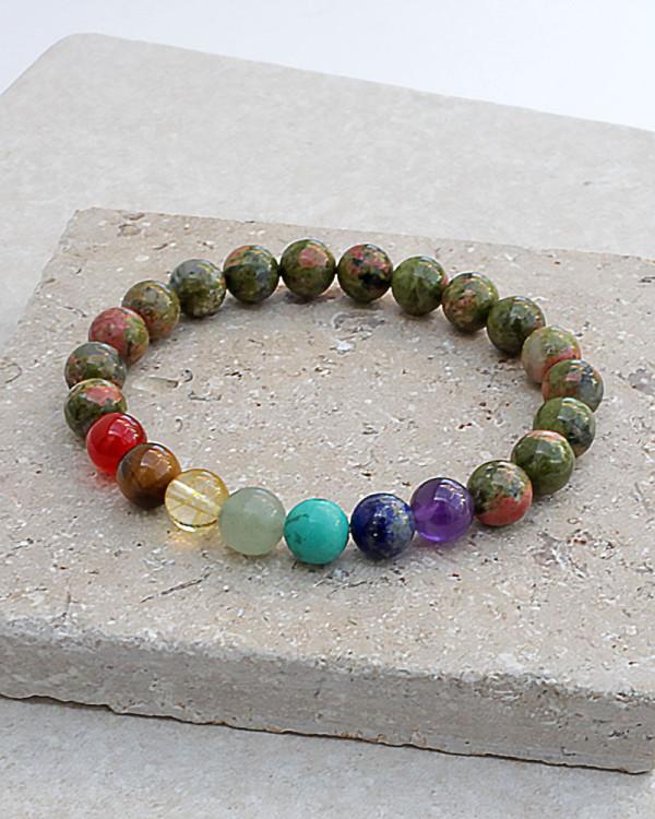 Unakite 7 Chakra Balance Bracelet
