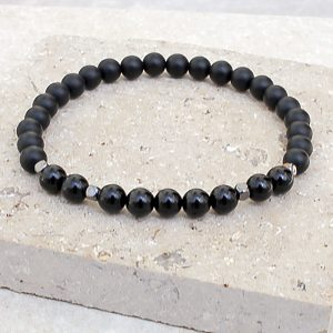 Black Onyx Bracelet Polished & Frosted 6mm