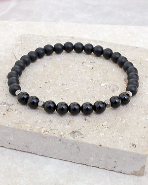 Black Onyx Bracelet Polished & Frosted 6mm