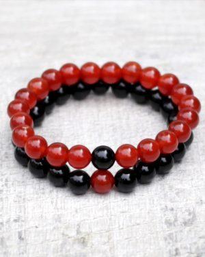 Carnelian & Onyx Distance Bracelet Set