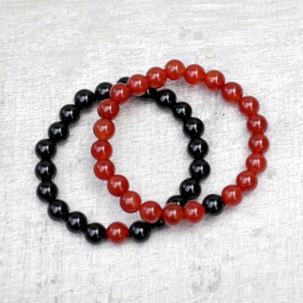 Couples Bracelet Set Onyx Carnelian