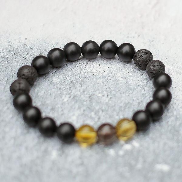 Citrine, Smokey Quartz, Onyx & Lava Bracelet