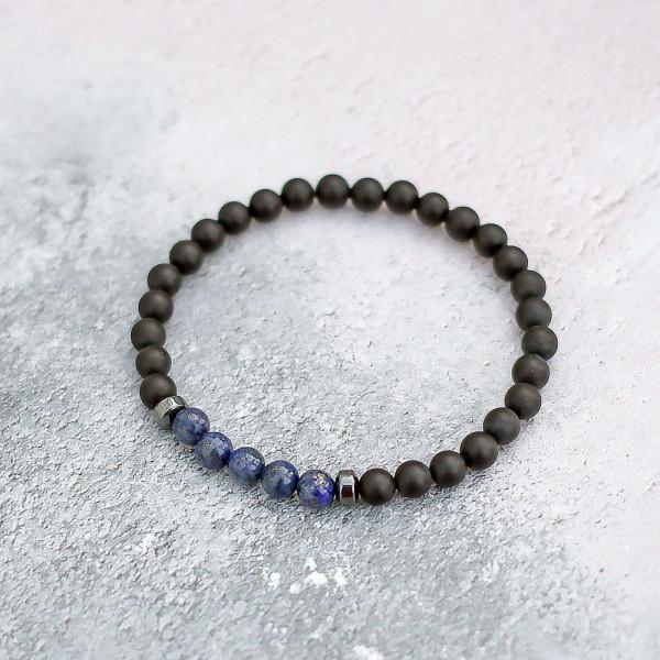 Lapis Lazuli & Frosted Onyx Bracelet 6mm