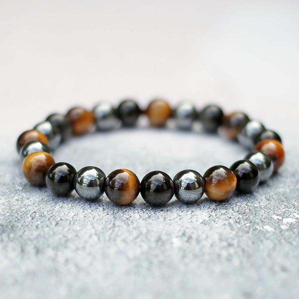 Obsidian, Tigers Eye & Hematite Mixed Stone Bracelet