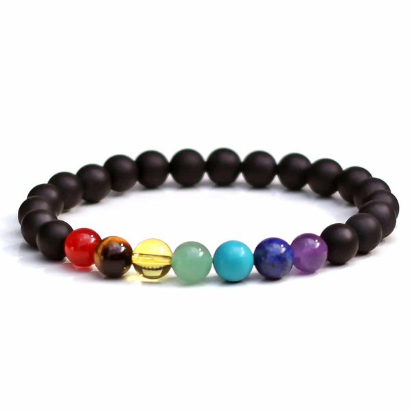 Frosted Black Onyx Chakra Bracelet