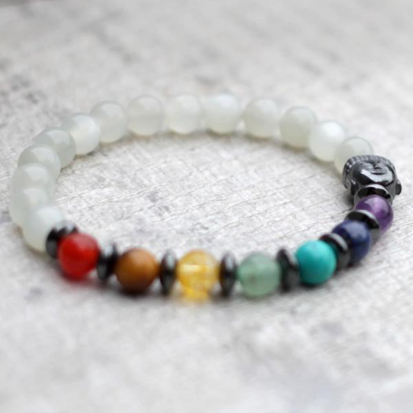Moonstone Chakra Bracelet With Buddha
