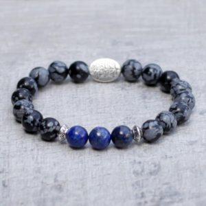 Lapis Lazuli Snowflake Obsidian Bracelet