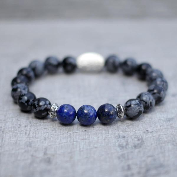 Snowflake Obsidian Lapis Lazuli Bracelet