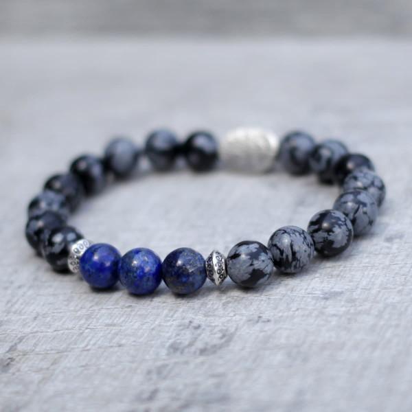 Lapis Lazuli Snowflake Obsidian Three Spirit Bracelet