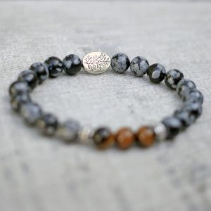 Tigers Eye Snowflake Obsidian Three Spirit Bracelet