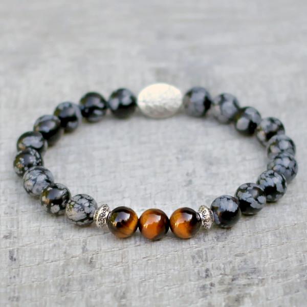 Tigers Eye Snowflake Obsidian Three Spirit Bracelet