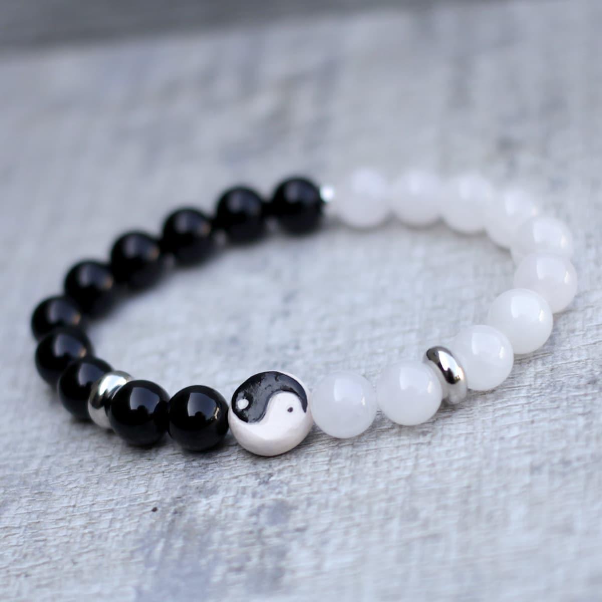 Yin Yang Bracelet White Jade Black