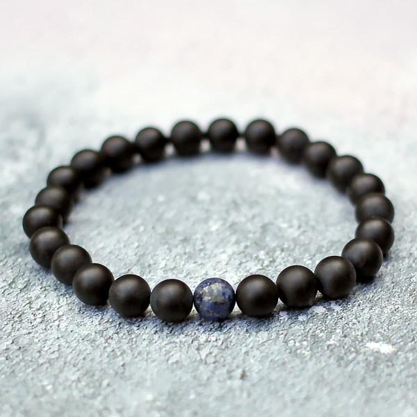 Lapis Lazuli Black Onyx Bracelet Set