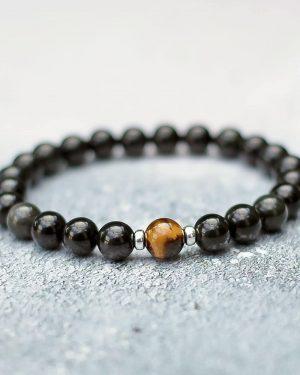 Obsidian Tigers Eye Sacral Chakra Bracelet