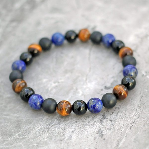 Lapis Lazuli, Tigers Eye, Onyx Bracelet