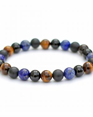 Lapis Lazuli, Tigers Eye, Black Tourmaline and Onyx Bracelet