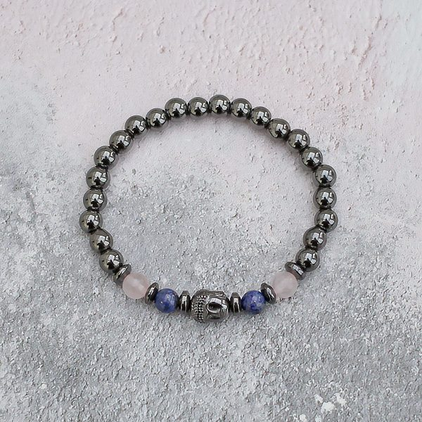 Hematite Buddha Rose Quartz & Lapis Lazuli