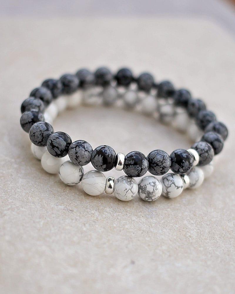 Howlite Snowflake Obsidian Bracelet