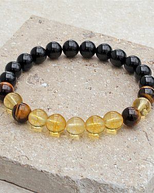 Black Tourmaline Citrine Tigers Eye Bracelet